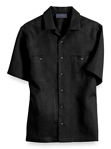 Men's Vintage Christmas Gift Ideas Paul Fredrick Mens Linen Short Sleeve Casual Shirt $85.00 AT vintagedancer.com