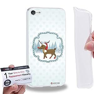 Case88 [Apple iPod Touch 6] Gel TPU Carcasa/Funda & Tarjeta de garantía - Art Navidad Classics Navidad Rudolph