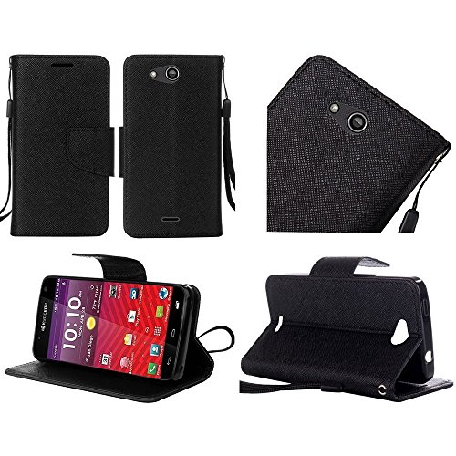 Luckiefind Case Compatible with Kyocera Hydro Wave C6740 / Air C6745, Premium Credit Card Slot Flip Wallet Cover Case (Wallet Black)