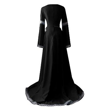 BaZhaHei Vestidos de Mujer Falda Vestido Medieval de Las Mujer Renacimiento Vestido de Manga Larga Cosplay Maxi Vestido de Las señoras del ...