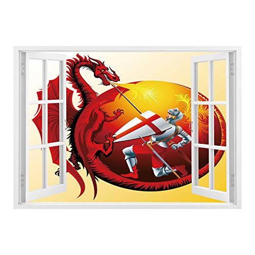 SCOCICI Creative Window View Home Decor/Wall Décor-Dragon,Saint George with Fire Spitting Winged Creature Royal Knight Graphic Decorative,Silver Ruby Earth Yellow/Wall Sticker Mural ()