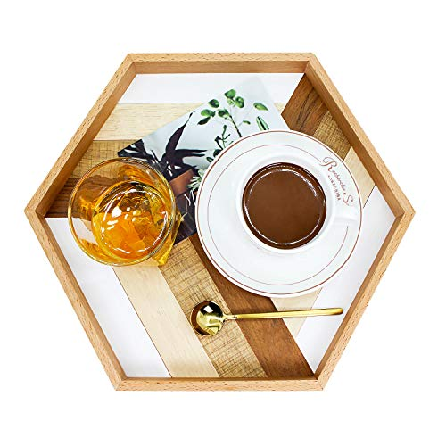 Prometis 13.4''x 11.5''X 1.2'' Wooden Serving Handmade Hexagon Tray, Serving Tray for Ottomans/Decoration/Coffee Table/Dining Room (PATENTED PRODUCT) (Round Tray Teak)