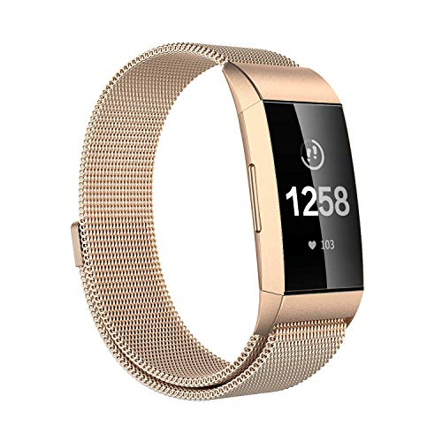Issmolog Metal Bands Compatible Fitbit Charge 3 and Charge 3 SE, Milanese Loop Stainless Steel with Magnetic Closure for Fitbit Charge 3 Bands for Women Men Multi Colors, Large Small(Champagne, Small)