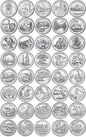 (43 D National Park Quarters ((FREE COIN)) 2010-2018 with Folder D Mint Uncirculated )