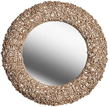 Kenroy Home Kenroy 60203 Transitional Wall Mirror from Seagrass Collection in Bronze Dark Finish, 33 D, Natural Rope