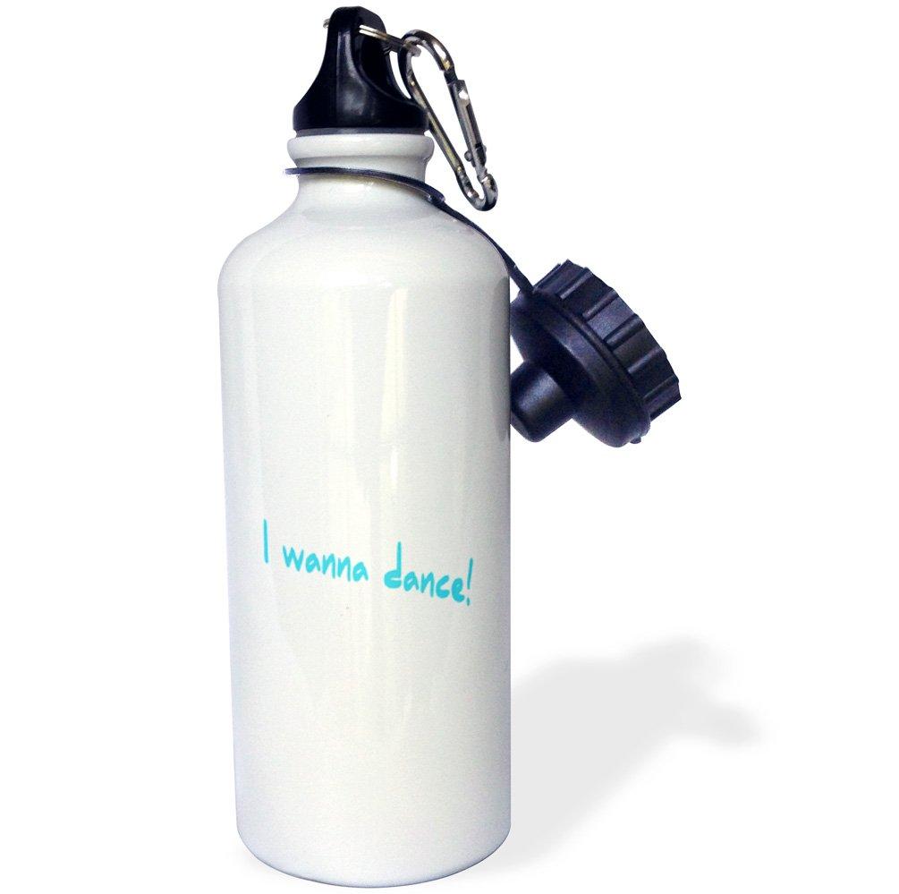 3dRose wb_32833_1 I Wanna Dance Light Blue Sports Water Bottle, 21 oz, White