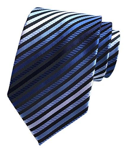 (Secdtie Men's Narrow Stripe Pattern Tie Blue White Black Business Necktie TW08)
