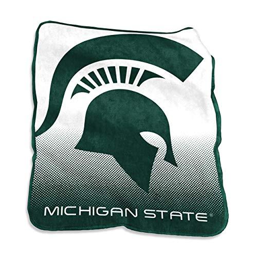 Logo Brands NCAA Michigan State Spartans Unisex Raschel Throwraschel Throw, Hunter, N/A ()