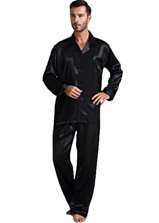 Mens Silk Satin Pajamas Set Sleepwear Loungewear S M L XL 2XL 3XL ... 991d27287