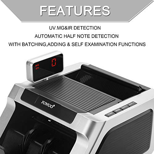 Money Counter with UV, Magnetic and Infrared Counterfeit Detection, Bill Counting Machine with Higher speeds, 1000 Bills Per Minute, Professional Cash Counting Machine and 1 Year Warranty by JUNUO (Image #3)
