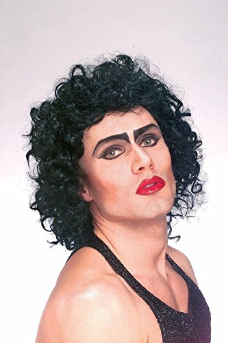 [Rocky Horror Picture Show Frank N Furter Black Curly Hair Wig Costume Accessory] (Rocky Horror Wig)