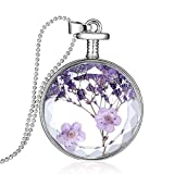 Souarts Glass Bottle Natural Dry Flower Necklace DIY Round Pendant Chain Necklace for Women (1)