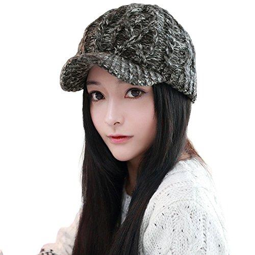 1597c47a2c2 SIGGI Women Thick Wool Knit Newsboy Cap Visor Beanie Winter Hat Cotton  Lined Black Gray