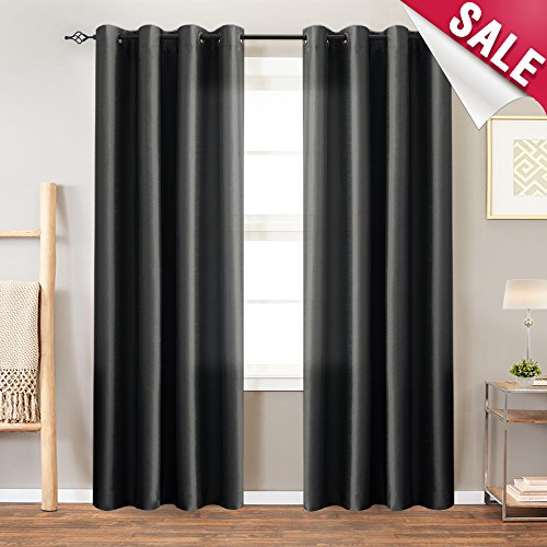 Faux Silk Curtains Black 84 inches Long Satin Curtain Panels