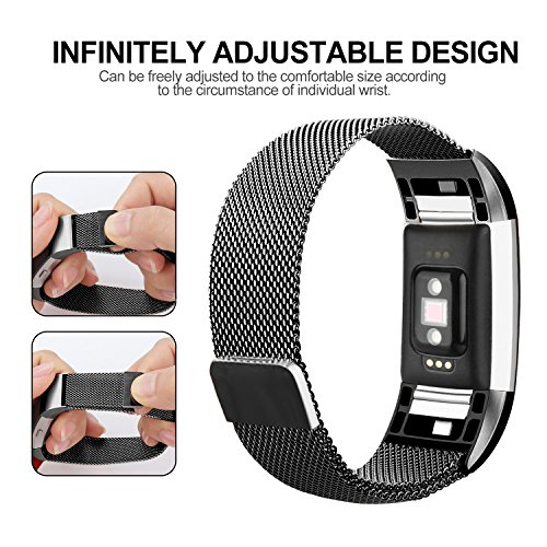 For Fitbit Charge 2 Bands, Charge 2 Stainless Steel Metal Bracelet with Unique Magnet Clasp Replacement Bands for Fitbit Charge 2 Large Smalll
