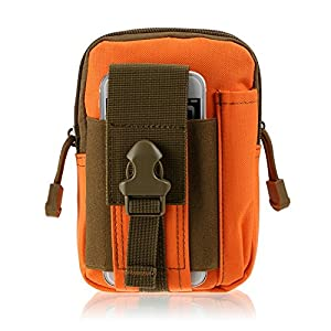 Ducklingup Waterproof Tactical Pouch Outdoor Sports Molle Waist Pack Fanny Phone Pouch Belt Bag EDC Camping Hiking Running Wallet (Orange)