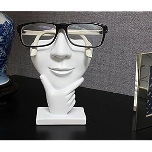 "Artsy Face Eyeglass Holder Stand - Sculpted Nose for Eyeglasses or Sunglasses, ""Thinker"", White"
