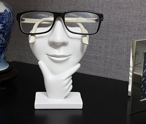 "Artsy Face Eyeglass Holder Stand - Sculpted Nose for Eyeglasses or Sunglasses, ""Thinker"", White"