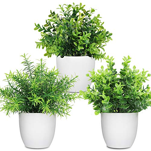 LELEE Artificial Potted Plants Mini Fake Plants, 3 Pack Small Plant Potted Faux Rosemary Green Decorative Plant with…