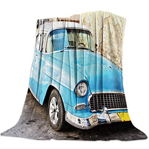 "Singingin Old Car on The Street Corner Flannel Throw Blanket Super Soft Warm Snuggle Stadium Blanket for Couch Chair Sofa and Bed Everyday Use 39"" x 49"""