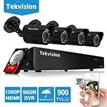 Tekvision 8CH Surveillance Security Camera System 960H DVR 4x900TVL Weatherproof indoor/Outdoor Surveillance Cameras Night Vision IR-Cut Built-in with 1TB HDD