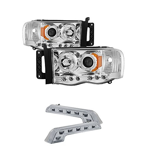 2002-2005 DODGE RAM 1500 DUAL HALO PROJECTOR HEADLIGHTS + 8 LED FOG BUMPER LAMPS