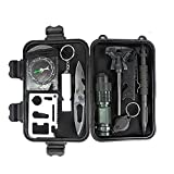 Outdoor Survival Kit, 10 in 1 Professional Multi-Purpose Emergency Tools ...