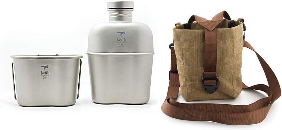Keith Titanium armée militaire cantine Grande capacité bouilloire Portable double usage Bouteille d'eau avec camouflage Sacs
