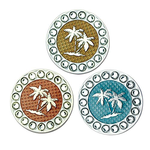 Myartte Golf Ball Markers Crystal Ball Markers Fit Magnetic Golf Hat Clips and Magnetic Divot Tools (Palm Tree-White)