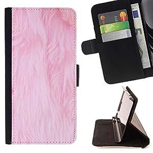 BullDog Case - FOR/HTC One M8 / - / pink fur white pet cat clean carpet /- Monedero de cuero de la PU Llevar cubierta de la caja con el ID Credit Card Slots Flip funda de cuer