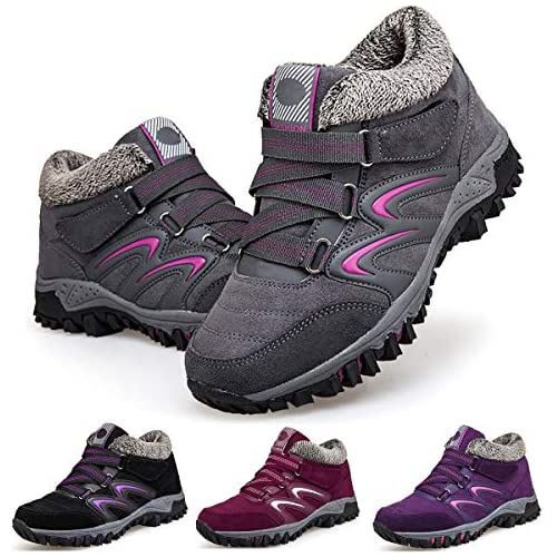 chollos oferta descuentos barato Camfosy Botas de Senderismo para Mujer Botas Cortas de Invierno Forro de Piel Botas de Nieve cálidas Botas de Ante con Cordones para Exteriores Casuales para Senderismo Caminar Zapatos Plan