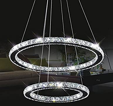 Tenlion - Candelabro de cristal colgante, forma elíptica, 40cm x 60cm, color blanco neutro
