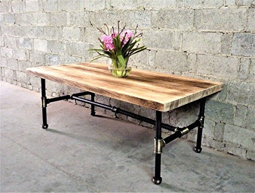 FURNITURE PIPELINE Industrial, Rectangle Pipe Coffee Cocktail Table, Metal with Reclaimed Aged Wood -