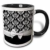 3dRose 3dRose Black and White Damask pattern with elegant and classy white ribbon bow for stylish women - Two Tone Black Mug, 11oz (mug_56660_4), , Black/White
