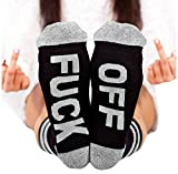 Socks FUCK OFF Ribbed Knit Half Crew Socks Ferbia Unisex Embroidery Swear Word Curse Printed Stockings