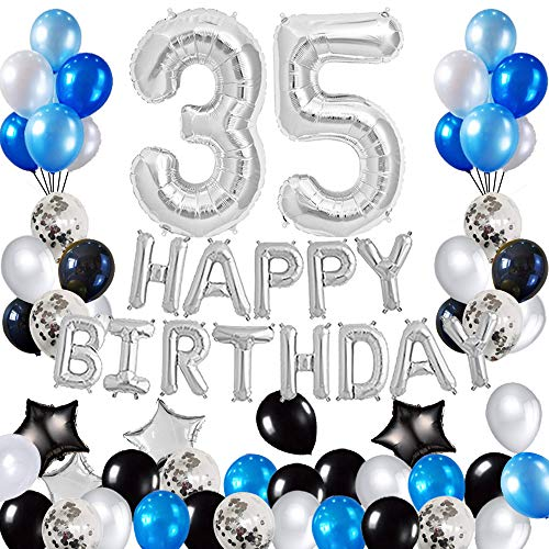 Risehy 35th Birthday Decorations Birthday Party Supplies Set- Foil Happy Birthday Banner Foil Balloons Number 35 and Star Shape Balloons 47 pcs Latex Balloons Silvery and Blue