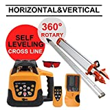 Iglobalbuy Automatic Electronic Self-Leveling Rotary Rotating Red Laser Level Kit 500M W/ Goggles+ Carrying Case (Rotary Laser W/ Staff and Tripod)