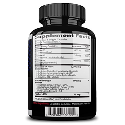 Nitrocut Pre Workout Supplement -120 Capsules - Best Nitric Oxide Supplements - L-arginine - L-citrulline - Premium Ingredients - Increase Blood Flow - Boost Muscle Growth