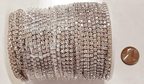 30 Meters (98 FEET) Crystal Glass 18PP Rhinestone Silver CHAINFULL Spool by Winkmode (Image #2)