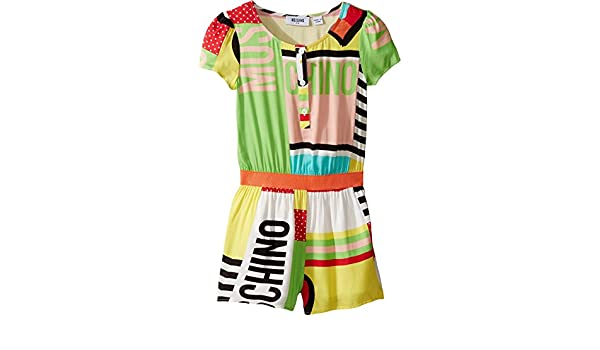 328997f8271 Moschino Kids Girl s Short Sleeve All Over Print Logo Romper (Little Kids Big  Kids) Multi Jumpsuit  Amazon.ca  Clothing   Accessories