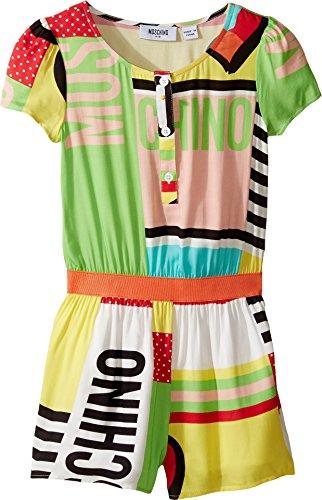 Moschino Kids Girl's Short Sleeve All Over Print Logo Romper (Little Kids/Big Kids) Multi Youth 8 Big by Moschino Kids