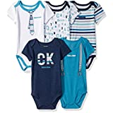 Calvin Klein Baby Boys' 5 Packs Bodysuits, Teal/Navy, 0/3M