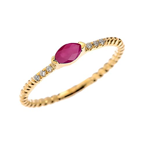 10k Yellow Gold Dainty Diamond and Marquise Ruby Rope Design Stackable Proposal Ring