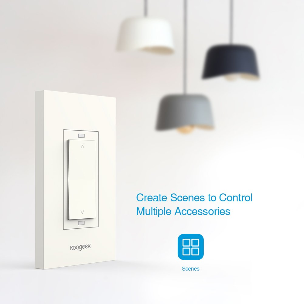 Koogeek Smart WiFi Light Switch Dimmer Works with Apple Homekit, Only for Single Pole, Support Siri on 2.4GHz Network 4 Packs (Require Neutral Wire) by Koogeek (Image #4)