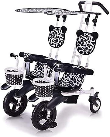 BYJY Triciclo de niños Gemelos Cochecito Doble de Peso Ligero Hijos Gemelos, con Techo Desmontable, Apto para 6 Meses a 4 años de Seguro y cómodo,Black