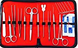 29pcs Advanced Dissection Dissecting Kit-6 T-Pins-Biology & Anatomy Tools- Medical Student Instruments - Stainless Steel- Case- Scalpel Knife Handle Blades- Veterinary Botany Lab - Animals Frogs Etc