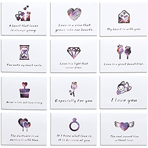 Mini Valentine's Day Love Blank Note Cards Valentine Greeting Tag Card Kit Collection Set of 12 Sales