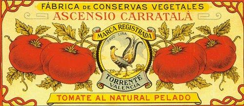 (TORRENTE VALENCIA TOMATE AL NATURAL PELADO SPAIN TOMATO CRATE LABEL CANVAS REPRODUCTION)