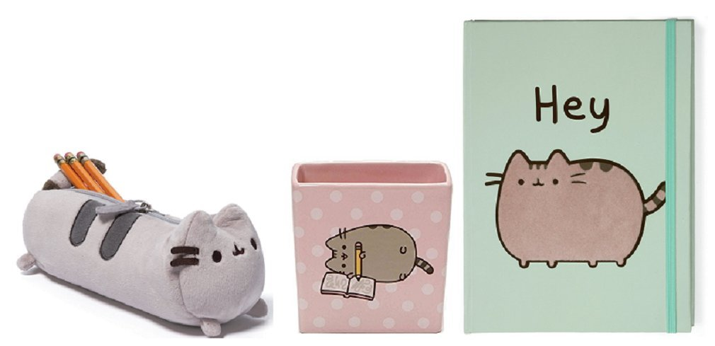 Enesco Pusheen Pencil Holder bundle with Green Hey Journal, and Pencil Case