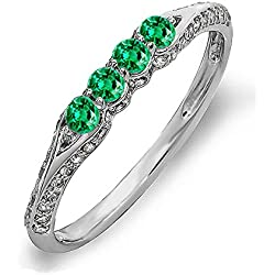 14K Gold Round Emerald And White Diamond Ladies Anniversary Wedding Band Stackable Ring